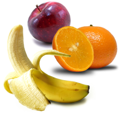Bananas, apples, oranges, great taste with great benefits.