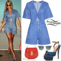 Queen Bey wows in denim jumpsuit with matching denim peep-toe