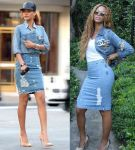Who wore it better? Bey vs RiRI in distressed denim pencil skirt