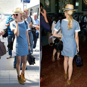 Simple color block denim dress accessorized with a Fedora