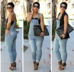 Fashion Guru and Designer MiMi G looking fearless in a pair of denim overall.