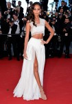 I'm a sucker for all white. Supermodel Joan Smalls embodies this look with a crop and high split, floor-length skirt.