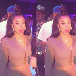 Ms. Keyshia exemplifies Spring 2015 with this high bun, pink lip, and neutral crop top.