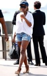 Mary J looks comfy cute in rugged jean shorts and a baseball cap at the 68th Annual Cannes Festival in Cannes, France.