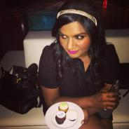 Funny gal Mindy Kaling is killing this fuchsia lip.