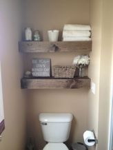 Shelves are the perfect method for creating more space. Adorn floating shelves with decorative towels and message-affirming pictures in your bathroom for a pleasant bathing experience.