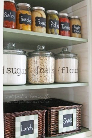 Large, labeled jars provide a stylish look in your pantry.